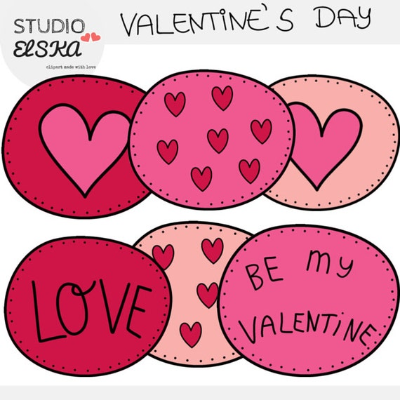 Valentine S Day Clipart Black Outlines Etsy