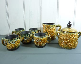 Mid Century modern, French Vallauris pottery,  coffee set of 5 fat lava espresso cups,  creamer and sugar pot with lid