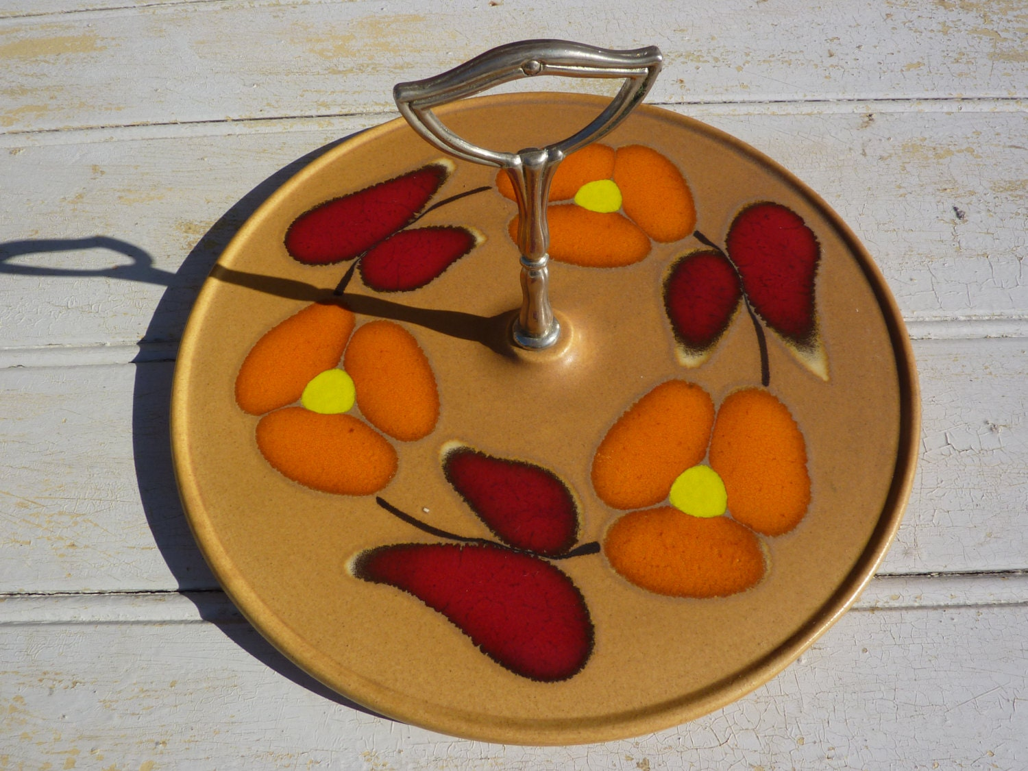 made in France cheese milking retro Saint Clement faience Vintage cheese platter 60/'s table art cuisine hand-painted