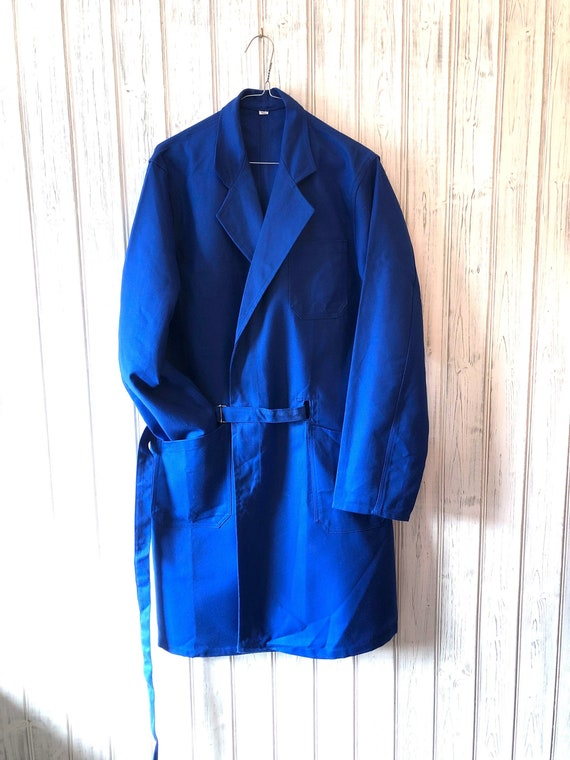 Vintage French chore jacket, duster coat,  industr
