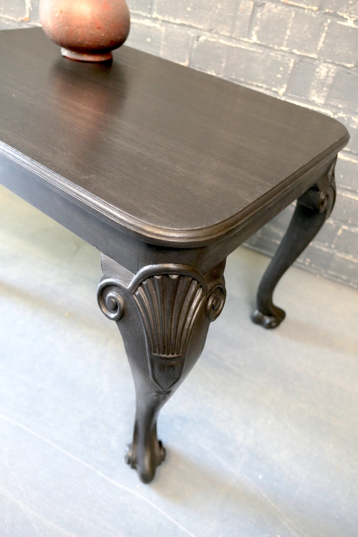 Antique black walnut decorative table, black coffee table, cabriole, charcoal side table, carved detail, vintage English furniture,