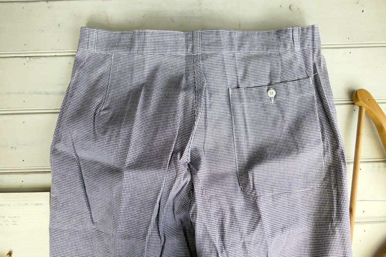 vintage kitchen chore pants Vintage French butchers  chefs trousers vintage workwear blue and white houndstooth dogtooth check