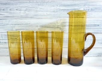 Vintage French mid century glassware, handblown amber glass and jug set,  highball tumblers, lemonade glass, beer glass, coloured glass set.