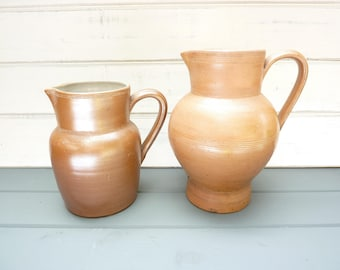 Vintage French saltglazed pottery wine pitcher, water jug.