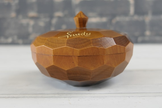 collectible religious trinket dish. Vintage French turned and carved wooden box Lourdes souvenir
