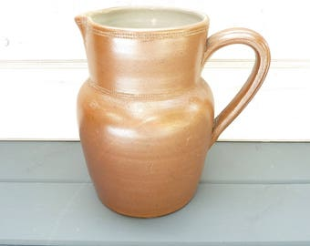 Vintage French saltglazed wine pitcher, water jug.