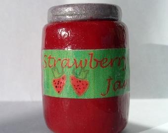 "Jar of Strawberry Jelly for 18 inch dolls, 18"" dolls, AG, Jam, Clay Jelly, Clay food, 18 inch doll Jar of Jelly, Doll Jelly, Doll Jam,"