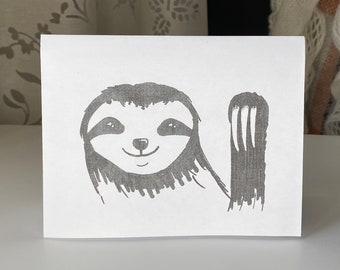 PRINTABLE Greeting Card, B&W, Handmade Sloth Pen Art, Minimalistic Simple Card, Cute Animal, PDF and Word, Downloadable Just Because Card