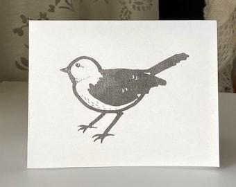 PRINTABLE Greeting Card, B&W, Handmade Bird Pen Art, Minimalistic Simple Card, Cute Animal, PDF and Word, Downloadable Just Because Card