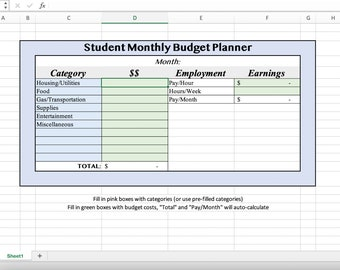 Excel Monthly Budget Planner, Automated Easy Editable Planner for Students, Printable Download Digital Media File, Simple Financial Template