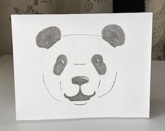 PRINTABLE Greeting Card, B&W, Handmade Panda Pen Art, Minimalistic Simple Card, Cute Animal, PDF and Word, Downloadable Just Because Card