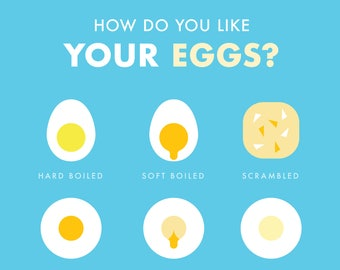 How do you like your eggs in the morning? Digital Print - Blue Edition