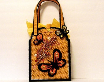 Yellow and black butterfly tote