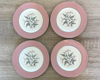 """Four Homer Laughlin Cavalier Eggshell Barclay 6"""" Plate - Dessert or Bread Plates - Pink and White"""