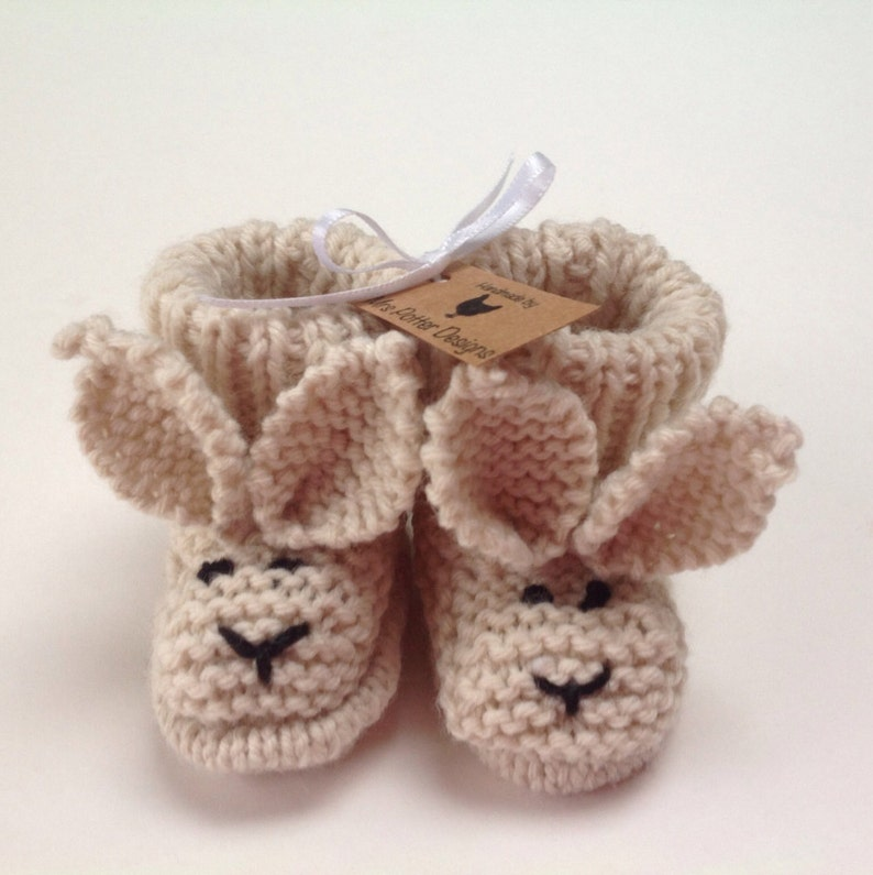 08bea05d2576c Hand Knitted Rabbit/Bunny baby booties/boots/slipper - 0-3 months