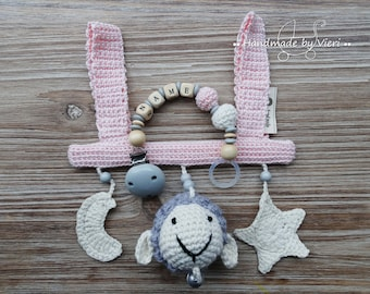 "Gift Set 2. Part pink ""Sheep-star-moon"" with/without name, crochet"