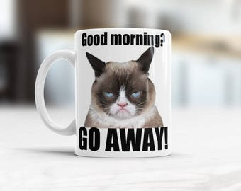 Good Morning Funny Coffee Hilarious Mug, Grumpy Cat Coffee Mugs, Boss Going Away gift, Going Away gift for Coworker Iintrovert Office gifts
