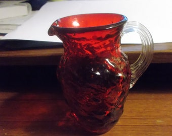 """Vintage Pilgrim Cranberry Glass Pitcher W/Clear Applied Handle 4 1/2"""" Tall"""