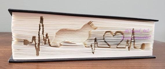 Cut /& Fold Book Folding Pattern Horizontal CORGI LIFELINE HEARTBEAT  499 Pages Pet Lover Dog Home Decor Unique Gift *Instant Download*
