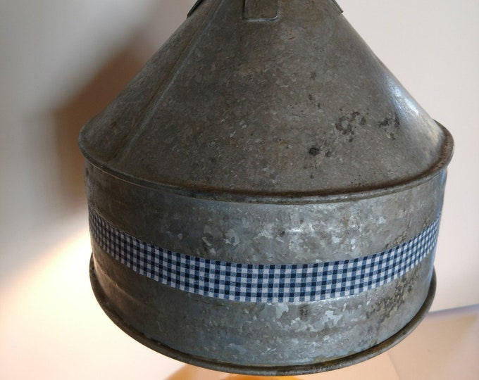 FARMHOUSE PRIMITIVES - Old Galvinized Tin Funnel - Hanging Swag Lamp - Rustic & Quaint