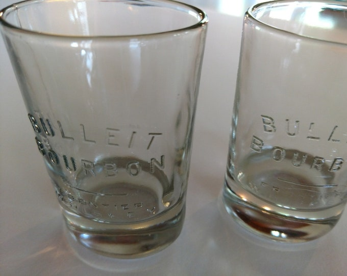 SALOON & BARWARE - Bulleit Bourbon Frontier Whiskey - Set of Two Oval Glasses - 4 oz - Kentucky Distillery