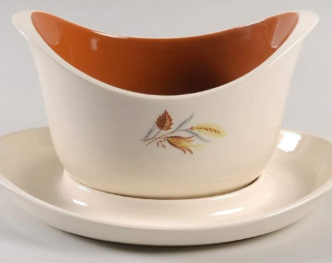 TAYLOR SMITH - Gravy Boat & Underplate - Autumn Harvest Pattern from the Ever Yours Line - 1960's