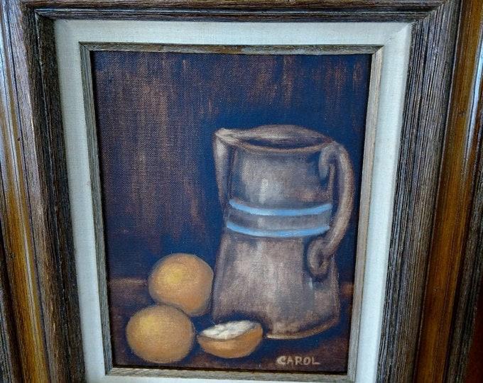 PAINTING - Farmhouse primitive oil on canvas - CAROL BOYD - 1978