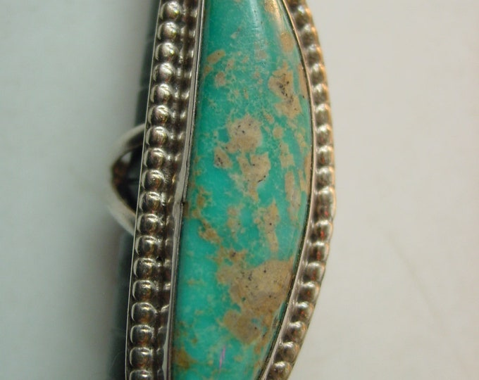 "VINTAGE SOUTHWEST - Cerrillos Turquoise & Sterling Ring - Large 2"" Oblong Stone with Beautiful Matrix - Size 5 1/2"