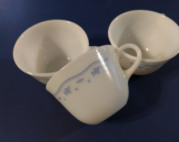 PYREX - CORNING - Coffee / Tea Cups - Set of 3 - Morning Blue Pattern - Colonial Blue Flower Design - circa late 1970's - 1980's.
