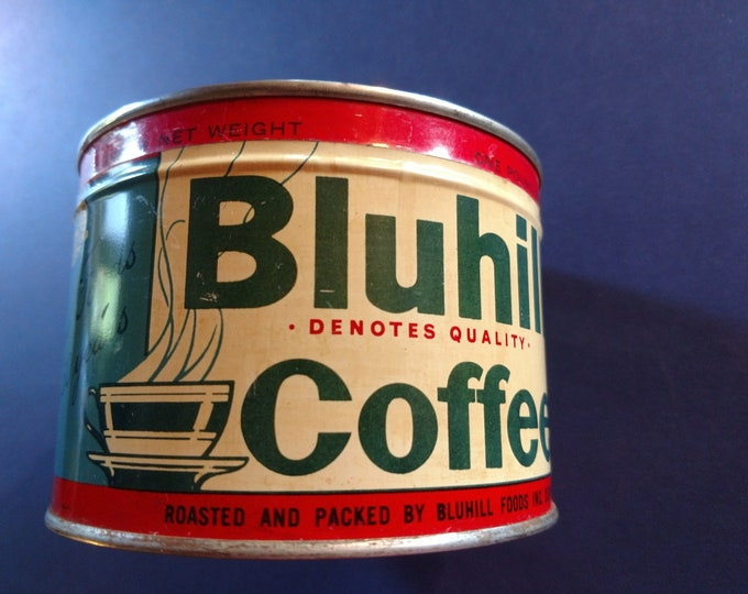 Vintage Advertising - BLUHILL COFFEE TIN - Denver, Co., - 1 lb keywind w/lid - circa 1940's