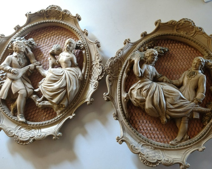1960's Wall Hangings - PAIR OF SWEETHEARTS - Set of two - Colonial figures - Plaster cast w/ wire backing.