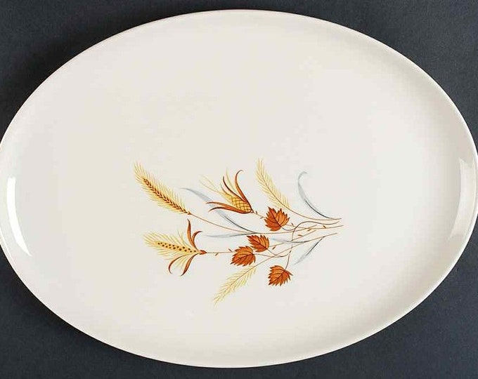 "TAYLOR SMITH - Oval Platter 13 1/2"" - Autumn Harvest Pattern from the Ever Yours Line - 1960's"