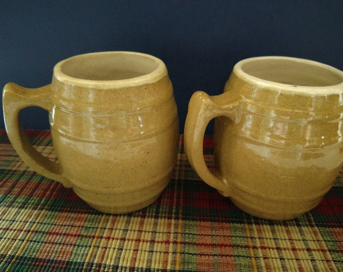 FARMHOUSE PRIMITIVES - Uhl Pottery Barrel Mugs #16 - Heavy Stoneware - Set of 2 - circa early 1900's
