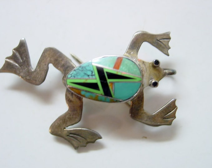 RESERVED-not currently available Native American/Southwest Sterling FROG PENDANT/Brooch Turquoise-Gaspeite-Spiny Oyster-Black Onyx, Hallmark