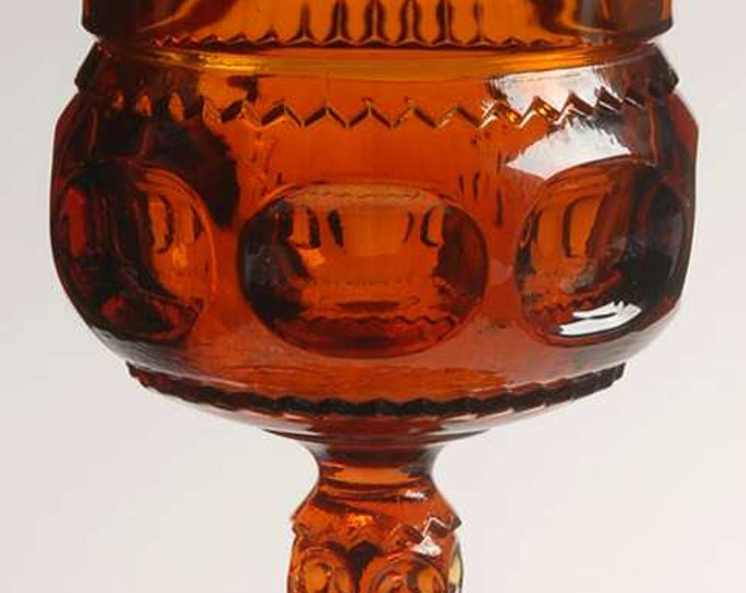 COLONY GLASS - Water/Wine Goblet - Dark Amber - King's Crown Thumbprint - circa 1960's