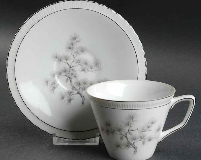 GOLD CHINA (Japan)  - Cup & Saucer Set - Regal Pine Pattern - #4132