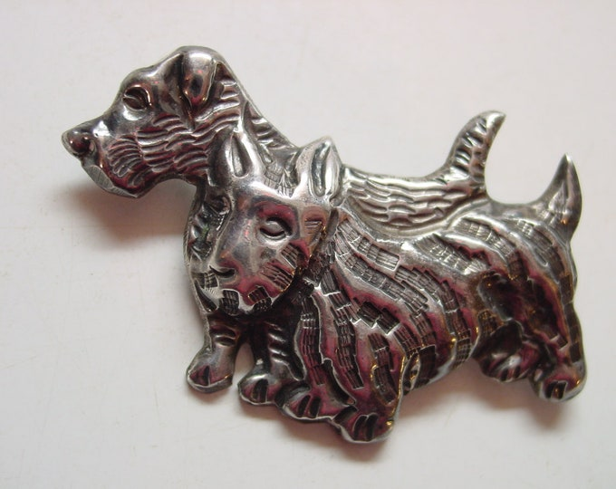 SILVER - Scottish Terriers - Vintage Scottie Dog Pin/Brooch - Mexican Silver - circa 1950's