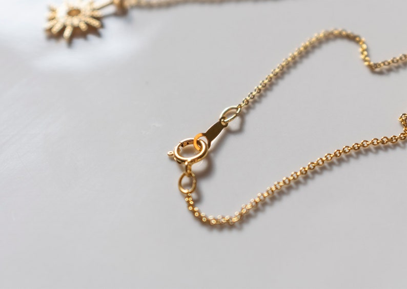 silver women/'s choker Contemporary Italian gold jewelry Christmas or friend/'s gift for her Sun pendant Sun chain necklace