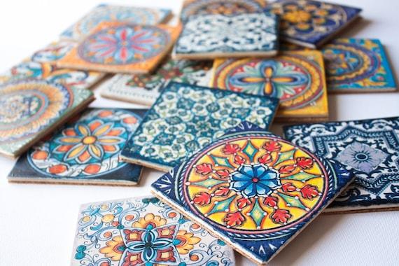 Sottobicchieri maioliche siciliane stampa su legno rivestito etsy