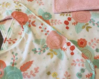 Pink/Teal/White floral burp cloth and bib set