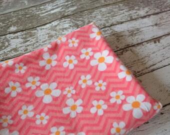 Pink Flowered receiving blanket