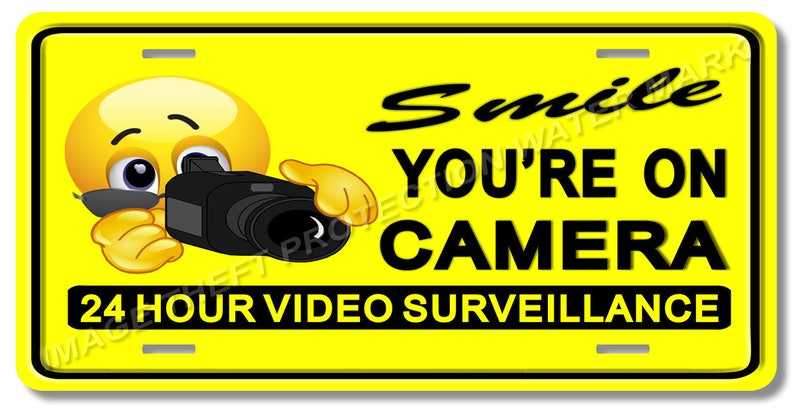 Smile you are on camera sign Durable Aluminum SecuritySign Never Rust Full Color
