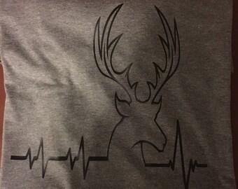 Tri Blend Deer Heartbeat T-shirt