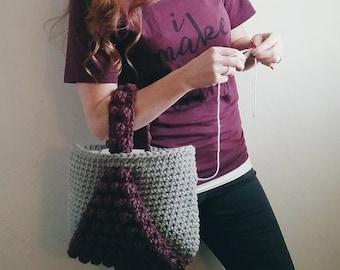Crochet Tote Bag PATTERN Crochet Bobble Tote, Yarn Bag, Project Tote, Crochet Yarn Tote, Super Bulky Crochet Tote, Crochet Project Tote