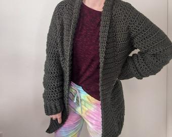 Crochet Cardigan Pattern Beginner // Chunky Crochet Sweater Pattern // Crochet Sweater Pattern Women