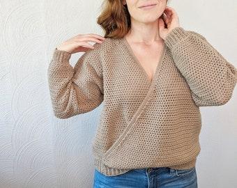 Crochet Wrap Sweater Pattern // Pullover Sweater Crochet Pattern // Raglan Sweater Crochet Pattern