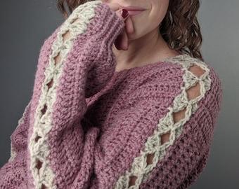 Crochet Sweater Pattern Statement Sleeves // Pullover Crochet Pattern // Puff Sleeve Sweater Crochet Pattern