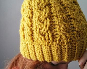 Crochet Beanie Pattern // Crochet Messy Bun Hat Pattern // Cable Crochet Hat // Messy Bun Hat