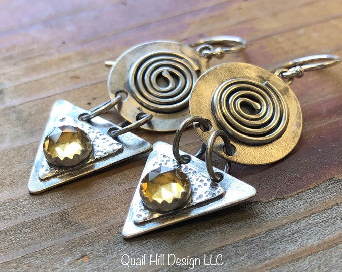 Featured listing image: Boho Citrine Spiral Triangle Round Textured Argentium Sterling Silver Earrings
