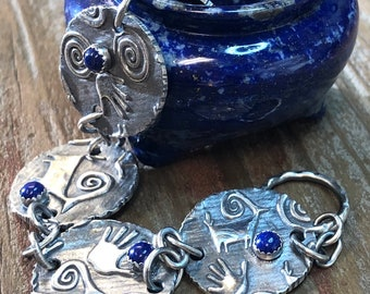Ancient Symbols Lapis Lazuli Bracelet, Fine Silver, Argentium Sterling Silver, Jewelry